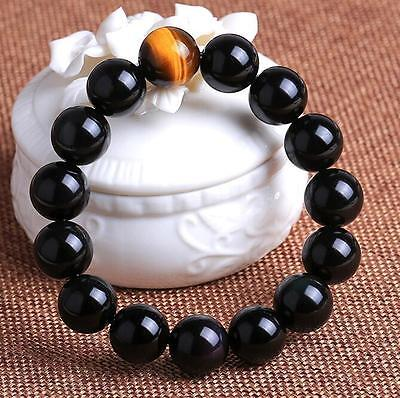 Natural obsidian 20 mm tiger's eye beads men lucky bracelet AAAAA +