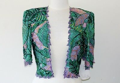 JASDEE Vintage Bolero Jacket Hand Work Bead & Sequins & Hand Print On Silk #3081