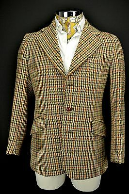 "size 40"" Short Vintage Dunn & Co 3 Button Harris Tweed Jacket Blue & Brown"