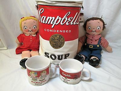 VINTAGE CAMPBELL'S SOUP 1960s TOTE, CAMPBELL KIDS AND 2 CAMPBELL SOUP MUGS