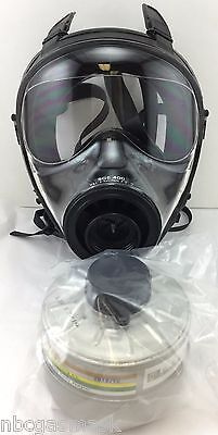 Mestel Safety SGE 400 Gas Mask w/40mm NATO NBC Filter - NEW / Both made in 2016