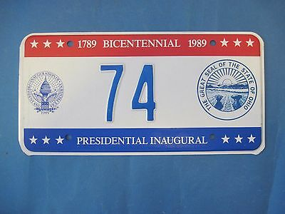 1989 DC Bicentennial Inaugural license plate excellent condition Ohio seal