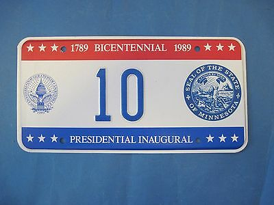1989 DC Bicentennial Inaugural license plate excellent condition Minnesota seal