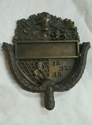 Vintage Brass Door Knocker Lion Rampant Coat of Arms Heraldry