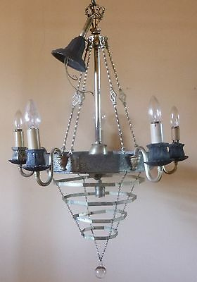 antq ART DECO Spanish Revival WEDDING cake WATERFALL chandelier 1920s no prisms