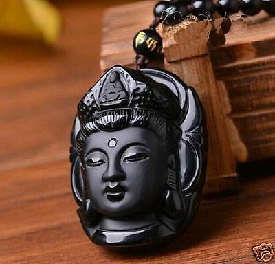 Beautiful Chinese natural A obsidian carved guanyin statue pendant  +necklace