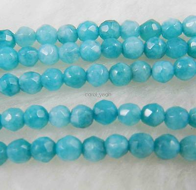 NEW 4mm Natural Brazilian Aquamarine Faceted Round Loose Beads 15''