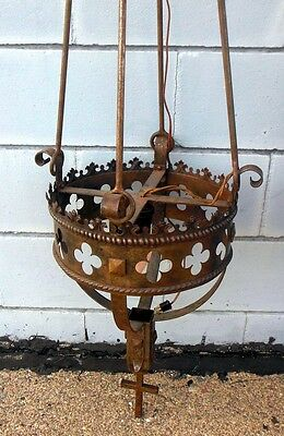 "Antique Iron Light Ceiling Fixture Pendant Cross Crown Gothic  70"" l Monastery"