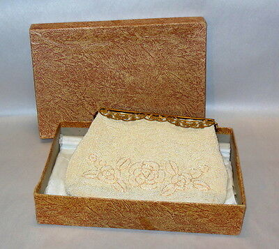 Vintage Walborg Intricate Hand Beaded Ladies Champagne Purse Original Box & Tag