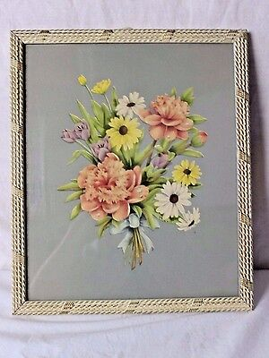 Vintage Antique Averill Floral Print Original Frame