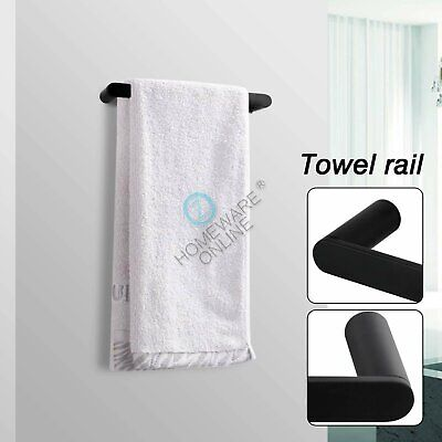 300mm Black Hand Towel Rack Rail Ring 304 Stainless Steel Wall Holder Bathroom