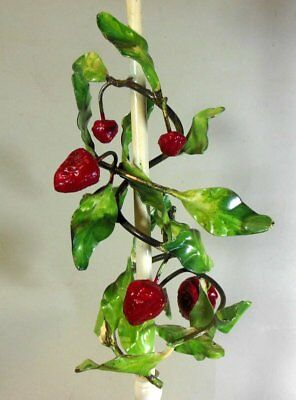 Vintage Strawberry Tole Metal Lamp Italian Garden Chic