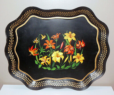 Exquisite Vintage Tole Tray Hand Painted Daffodils Flowers Scalloped Border