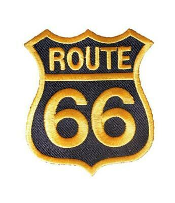 Route 66 Gold Black Embroidered Iron / Sew On Patch Badge Applique Motif