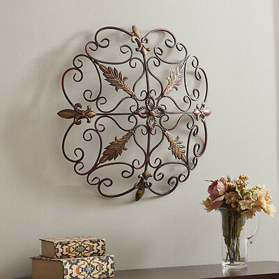 Elegant Round Wrought Iron Wall DECOR Scroll Fleur De Lis Antique Vintage Decor