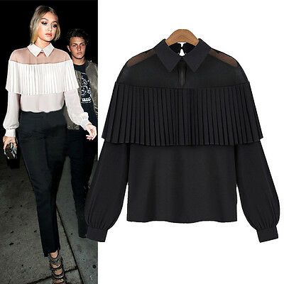 Fashion Summer Womens Loose Casual Long Sleeve Shirt Blouse Ladies Mesh Tee Tops