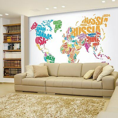 Political Typographic Map of the World in Full Color - Wall Mural- 66x96 inches