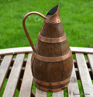 RARE Old French antique copper and wooden Wine/cider Jug pitcher