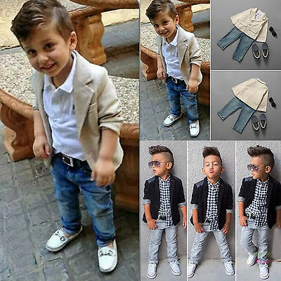 3Pcs Boys Kids Casual Blazers Coat + Shirt + Jean Set Child's Clothes Tracksuit