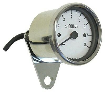Tacho 60mm Electronic White face & Chrome Body up to 8000rpm
