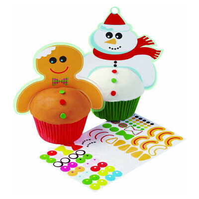 Wilton Frosted Fun Cupcake Snowman Gingerbread Man Decoration Stickers