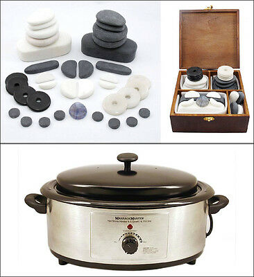HOT/COLD STONE MASSAGE KIT: 37-Piece Facial Set + 6.5 Quart Heater