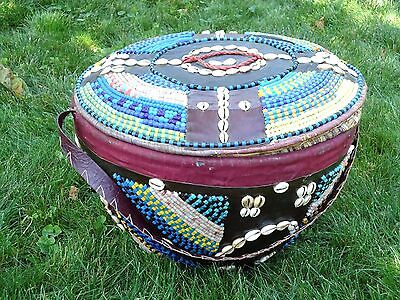 African Large Storage basket with cowrie shells and beads Nigeria