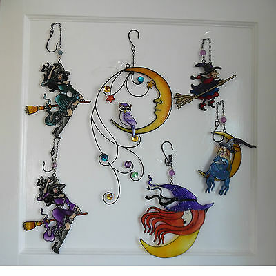 High Quality Witch Suncatcher Resin Colourful 6 Choices Pagan Wiccan Halloween