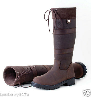 Rhinegold Elite Brooklyn Long Leather Country Boots Brown Horse Riding Boots