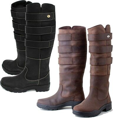 Rhinegold Elite Colorado Leather Country Boots Adjustable Brown Or Black Boots