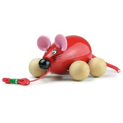 NEW Lisa the Red Mouse Pull Along Toy - Moveable Cord Tail and Bendable Ears