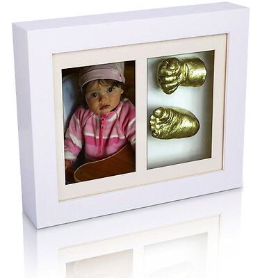 Picture Frame Baby Kids Foot & Hand 3D Cast Casting Kit Clay Gift White