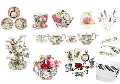 TRULY ALICE Party Tableware Items,Plates,Cups,Napkins,Teapot Cake Stand,Picks