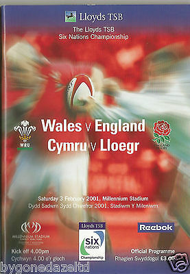 WALES v ENGLAND FEBRUARY 2001 LLYODS TSB  6 NATIONS RUGBY PROGRAMME