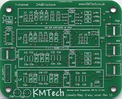 PACK OF FIVE Linkwitz-Riley 3-way active filter by KMTech PCB DIY v1.3