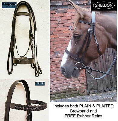 Superb Leather Hunting Bridle With Plaited /& Plain Browband /& Grip Reins 4 Sizes