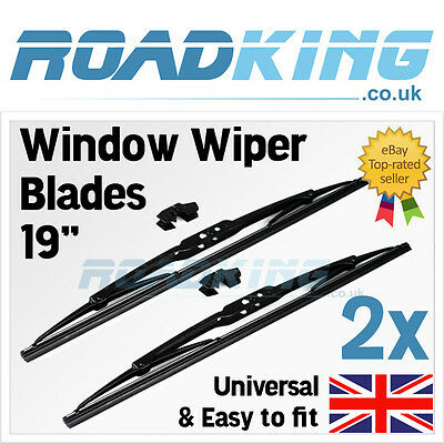 """2x 19"""" Deluxe Front Blades Windscreen Window Wipers   Universal & Easy Fitting"""