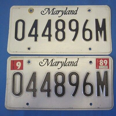 1989 Maryland License Plates matched pair state shield nice