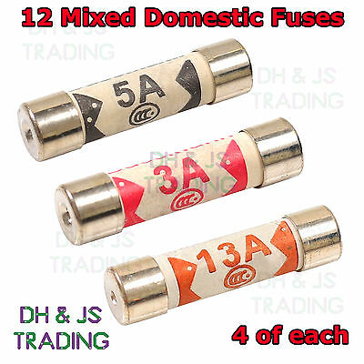 12 x Mixed Domestic Fuses Plug Top Household Mains Electrical Cartridge 240v