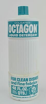 Vintage NOS Colgate White Octagon Liquid Detergent Soap Prop Full Bottle 1977