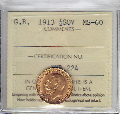 1913 Great Britain Half Sovereign ICCS MS-60