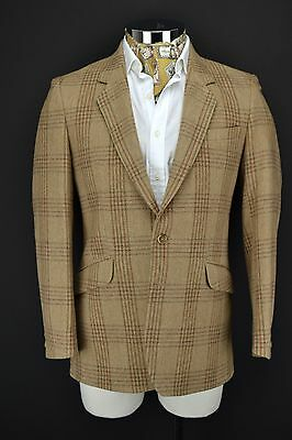 "John G Hardy Tweed Jacket 40"" Regular 2 Button Windowpane Check"