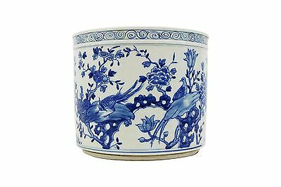 """Beautiful Blue and White Porcelain Round Bird Floral Theme Flower Pot Bowl 8"""""""