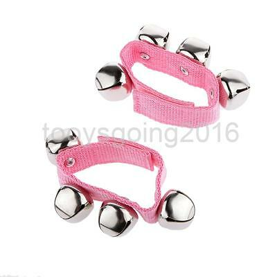 Pink Wrist Hand Bells Jingle Kids Rattle Percussion Shake Musical Toys Gifts