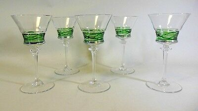 Five Vtg Stems Bar Ware Sherry Cocktail Wine Threaded Theresienthal Steuben