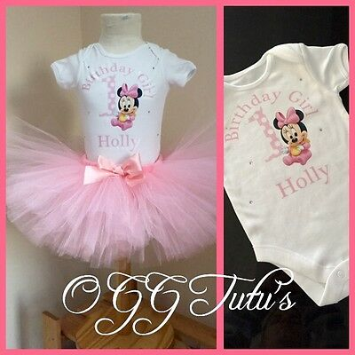 Pink 1st Birthday Girl Cute baby Minnie Mouse Personalised tutu cake smash party