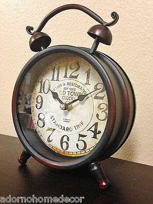 Black TABLE CLOCK Old Town SHABBY Antique VINTAGE Mantle CHIC Decor Cottage