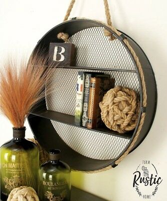 Metal Round Wall Shelf Unique Rope Industrial Decor Vintage Style Antique Look
