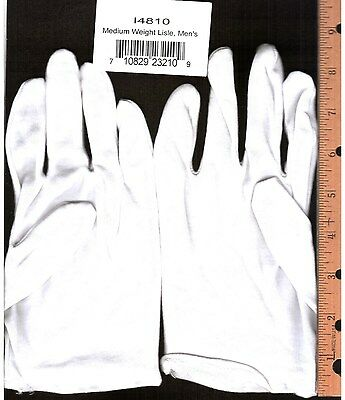 3 Pair Mens White Lisle 100% Cotton Work Gloves Medium Weight