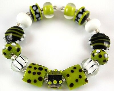 15pcs Lampwork Glass Beads Handmade Lime Black White Loose Rondelle Spacer Craft